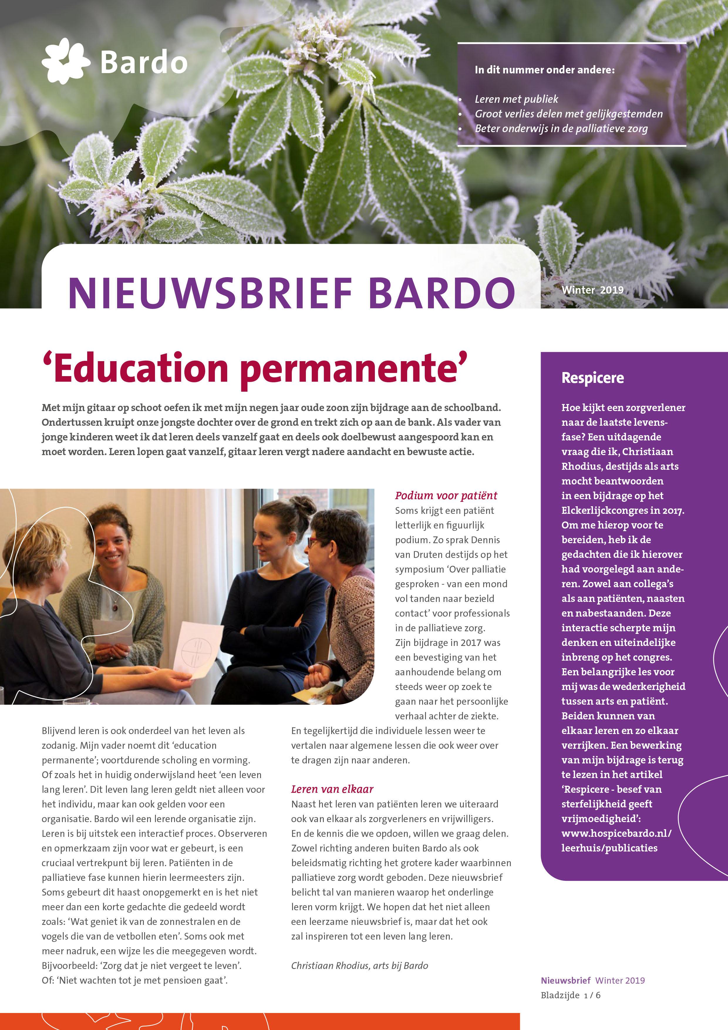 Cover Nieuwsbrief Bardo winter 2019
